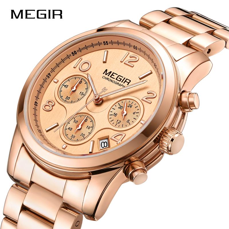 MEGIR Women Luxury Top Brand Quartz Wristwatches Fashion Business Watches Ladies Dress Waterproof Watch Female Relogio Feminino chenxi fashion luxury quartz watch women dress stainless steel strap waterproof business casual ladies watches relogio feminino