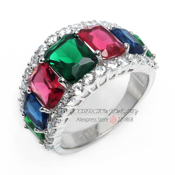 Fine Jewelry Personalized Womens Multi Color Crystal Sterling Silver Cocktail Ring xgeySIUFFV
