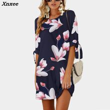 Plus Size Floral Print Dress Women Straight O Neck Mini Casual Fashion New Clothing Lace Beach Boho Dresses 4XL 5XL Xnxee