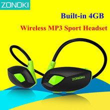 Zonoki M5 Беспроводной MP3 спорта гарнитуры шейным наушники Встроенный 4 ГБ карты памяти MP3-плеер наушники езда на велосипеде Бег наушники