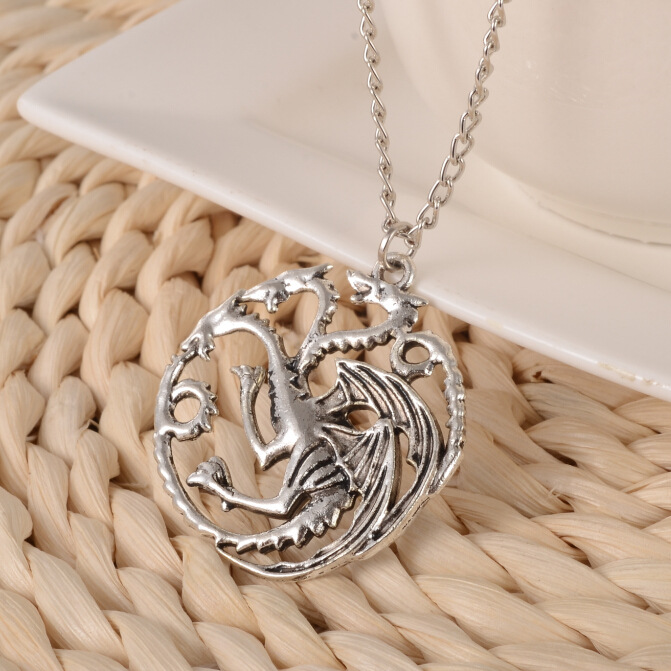 Vintage Necklace Collares Movie Song Of Ice And Fire Game Of Thrones Targaryen Dragon Badge Necklace Movie Jewelry Colar Collier image