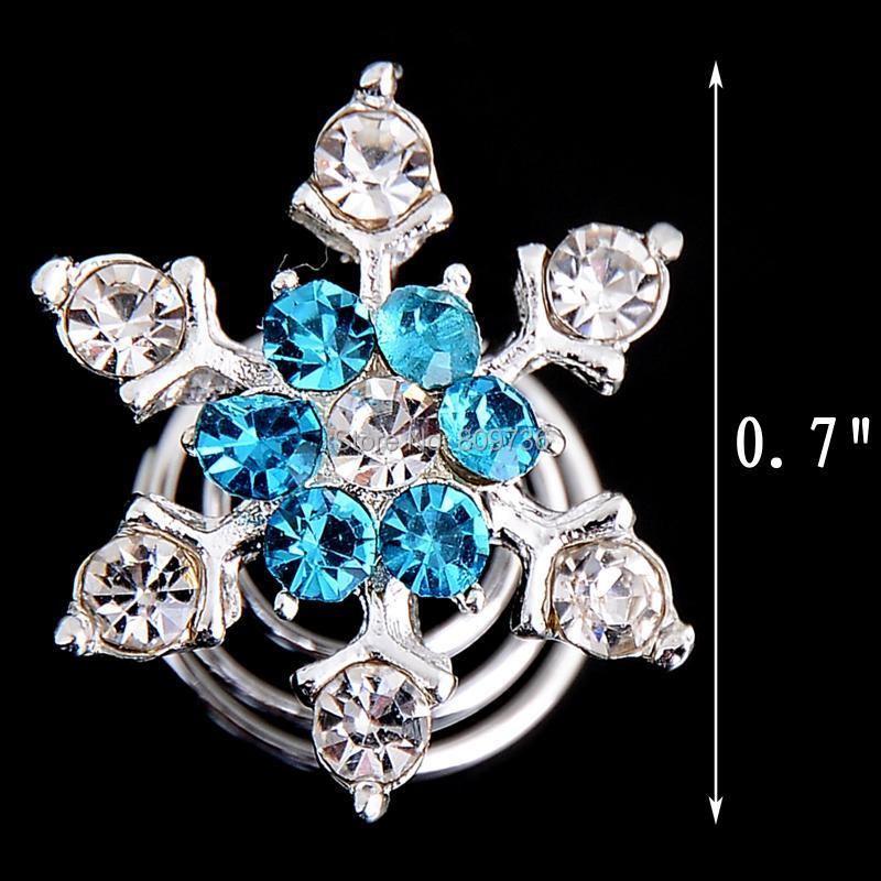 2Pcs Wedding Bridal Hair Pins Crystal Twists Coils Flower Swirl Spiral Hairpins
