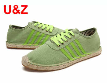 Cool yet breathable Canvas Espadrilles driving Shoes Men,Mint Green/Red Cotton Sneakers fashion flats male stripes shoes Youth - DISCOUNT ITEM  58% OFF All Category