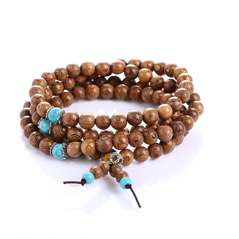 Natural Turquoise & Sandalwood Mala Bracelet