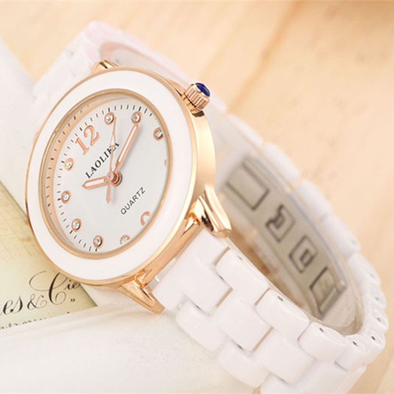 2019 Luminous Atmospheric White Plus Gold Quartz Arabic Numbers Ceramic Strap Watch for Women Student Fashion amp Casual in Women 39 s Watches from Watches