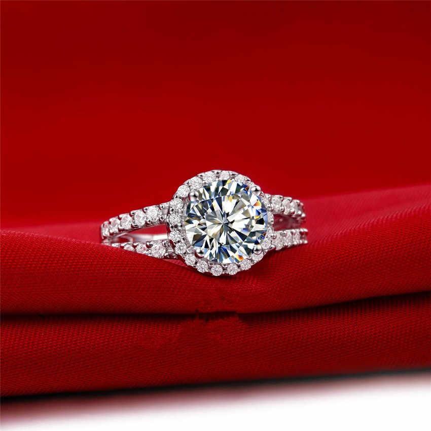 Propuesta de joyería de matrimonio 1 Ct SONA anillo de diamante sintético para mujer boda joyería de plata de ley Semi montaje de Color de lujo