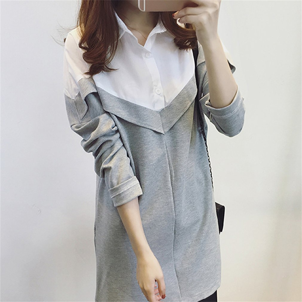 Summer Women Black  White Patchwork Tee Tops One Piece Long Sleeve Casual Simple Long -6088