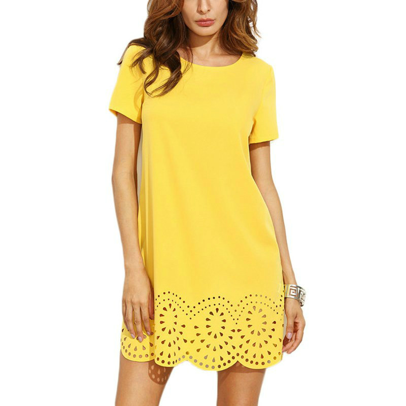 Vintage Women Summer Crochet Hollow Out Dress 2018 New Sexy O Neck Short Sleeve Straight Party Dresses Plus Size Casual Vestidos