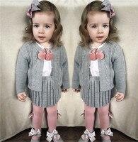 Knitting Suit Children Winter Set Baby Girls Princess Pink Sweater Clothing Sets Top Pants Warm Knitting Sets for girls 1 5T