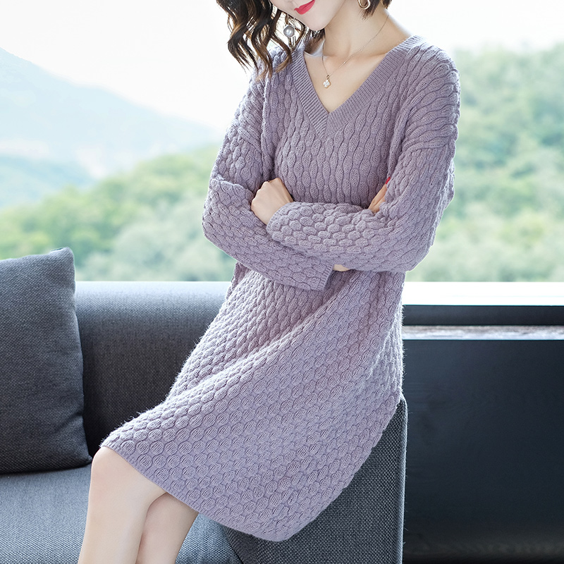 New Arrival 2018 Women's Solid Cashmere Knit Dress Elegant Lady V-neck Wool Knit Sweater Dress Long Sleeve