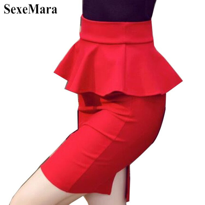 SexeMara New Spring 5XL Big Size Peplum Skirt Office Lady Frilly Skirt Female Sexy Mini Skirt Pencil Slit Red Black Skirt