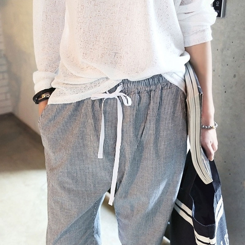d261dcdc3c6 Harem Pants Women 2018 Summer Casual Elastic Waisted Cotton Striped  Drawstring Sweatpants Plus Size All match Pantalones Mujer-in Pants    Capris from ...