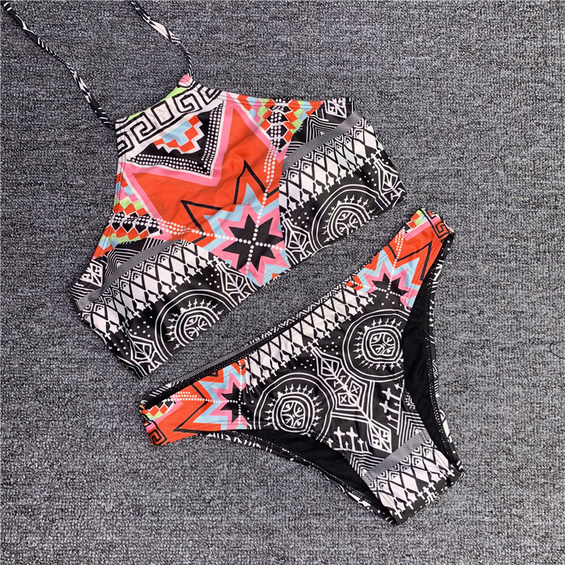 <font><b>Sexy</b></font> Ethnic Printed High Neck Swimsuit Strappy Swimwear <font><b>Women</b></font> <font><b>Push</b></font> <font><b>Up</b></font> <font><b>Bikinis</b></font> <font><b>Set</b></font> Halter <font><b>Bandage</b></font> Bathing Suit image