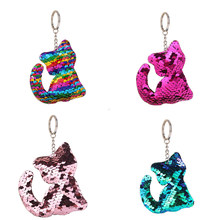 1pc Cute Cartoon Cat Keychain Glitter Pompom Sequins Key Chain Gifts for  Women Car Bag Shiny Accessories Key Ring Bling Jewelry 4b1bb5d1e424