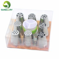Cupcake Baking Tools 9PCS Stainless Steel Russian Pastry Nozzles Icing Piping Tubes Sugarcraft Icing Piping Tips