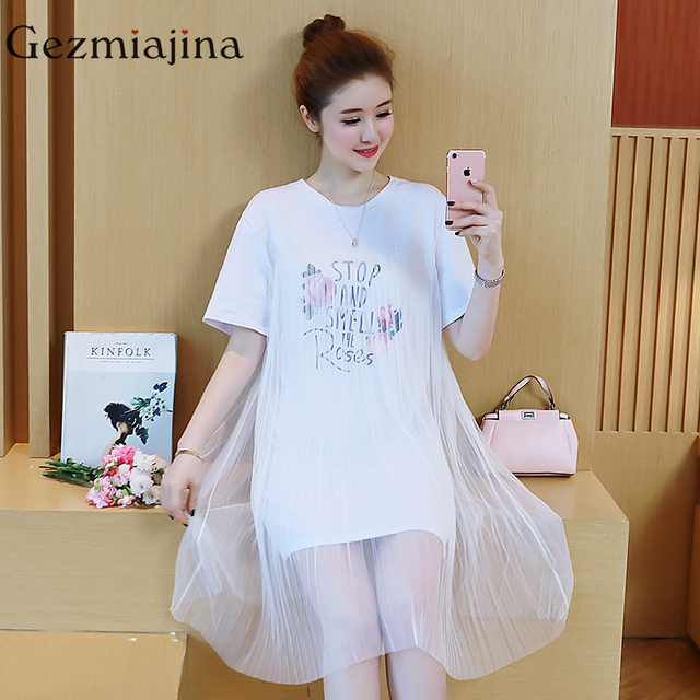 25b479a3a4fce Summer maternity dresses new fashion Round neck print pregnancy dress lace  splicing dress Pregnant woman clothing