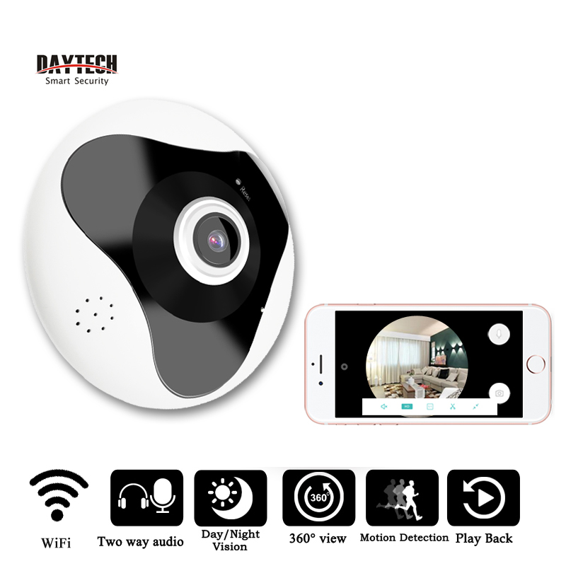 DAYTECH Wireless Panoramic Camera 960P Fisheye IP Camera WiFi Home Security IR Motion Sensor Two Way Audio 360 Degree Full ViewDAYTECH Wireless Panoramic Camera 960P Fisheye IP Camera WiFi Home Security IR Motion Sensor Two Way Audio 360 Degree Full View