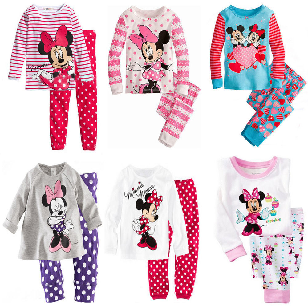2Pcs Baby Girl Cartoon Mouse Bow Tops pantalon Outfit Kids Vêtements Costume Suits