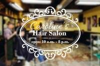 New 2015 Hair Salon Vinyl Wall Decal Salon Open Close Time Wall Sticker Shop Hour Mural Art Wall Sticker Window Glass Decoration