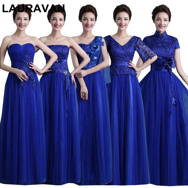Long Tulle Women Elegant Bridesmaid Dress Royal Blue Dresses Gowns For Bridesmaids Floor Lenght Ball Gown With Sleeve