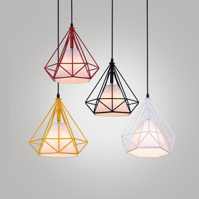 Modern Iron Cage Pendant Lights Loft Hang Lamp Diamond Birdcage Er Led Lamparas De Techo Kitchen Kids Bar