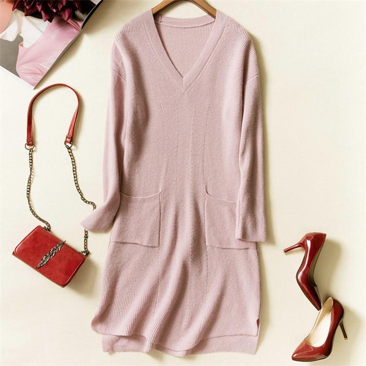 cashmere wool blend knit women fashion Vneck irregular hem pullover sweater dress beige 4color S 2XL retail wholesale - 5