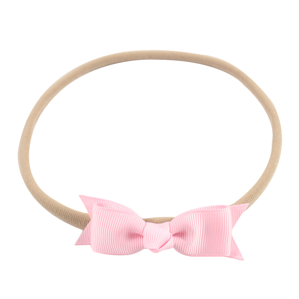 Solid Boutique Nylon Headband Ribbon Bow Hairband For Kids Girls Elastic Hair Band Hair Accessories Headwrap 6 pcs lot infant toddlers ribbon nylon headband boutique elastic band for pretty children baby hair accessories