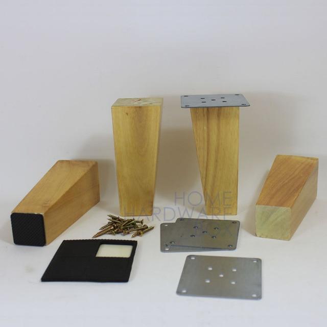 15cm 4x Wooden Cabinet Sofa Leg Natural Wood Furniture Square Legs