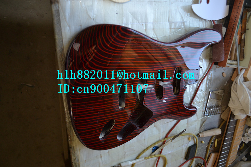 new made in China semi-finished electric guitar body with red zebra wood+EMS free shipping  F-1830 electric guitar gwarem st guitar zebrawood body and neck with gold hardwareguitar in china