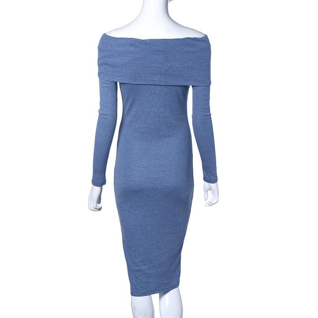 Feitong 2017 Autumn Dress For Women Long Sleeve Sexy Off Shoulder Sheath Bodycon Bandage Party Knee Dress vestido femininos Robe