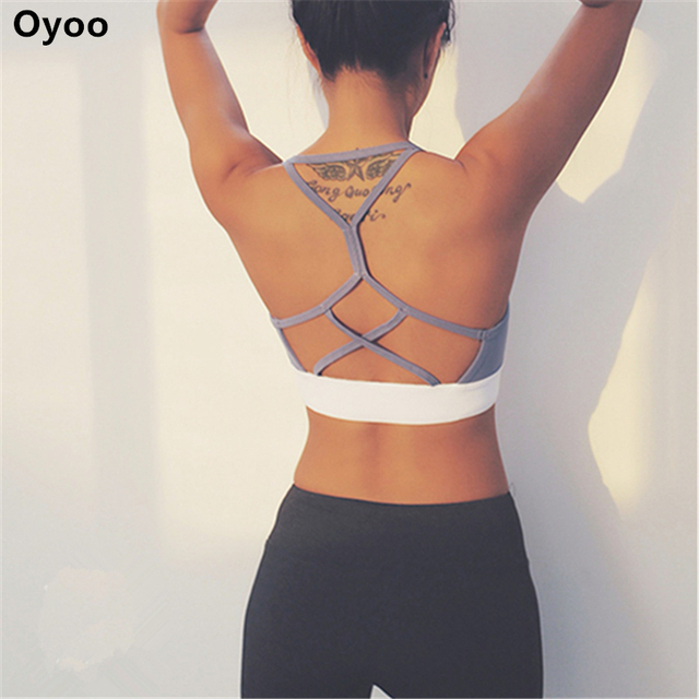 c523e37d17 Oyoo double line push up sport bra cute grey strappy bralette sexy wireless  underwear women gym crop top padded bras for yoga