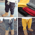 2017 new autumn winter kids boys girls thick solid pants childrens pure yellow brown cotton trousers