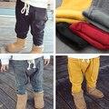 2017 nueva otoño invierno niños niñas grueso sólido pantalones de los niños pantalones de algodón puro marrón amarillo