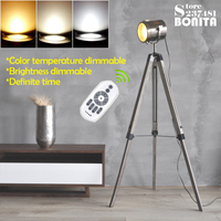 12W led dimmable bulb Remote control American Rural Tripod lighting Solid wood stainless steel floor lamp for living room