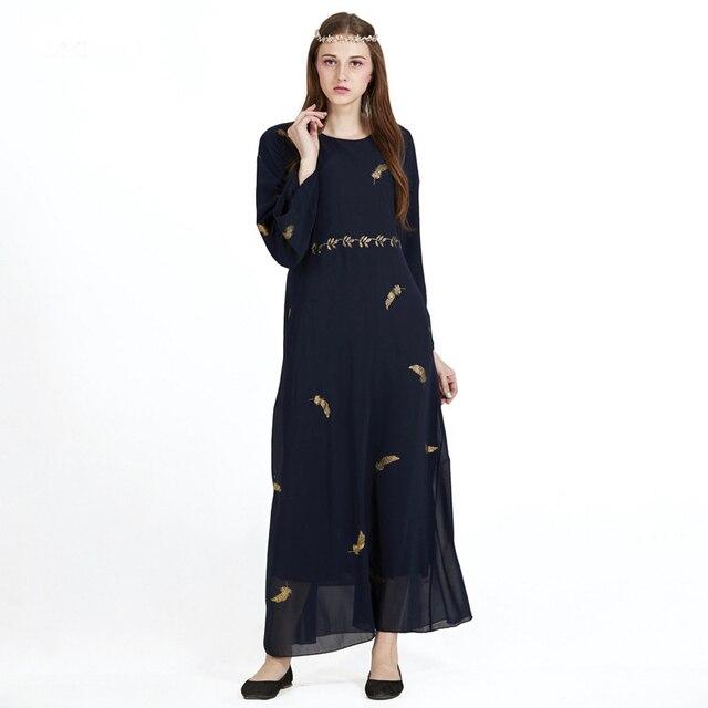 7e387eb2309f Elegancki Strój Muzułmański Islamu Mody Kobiety Odzież Feather Brązujący  Kobiety Szyfonowe Sukienki Pas Luźne Sukienki Damskie