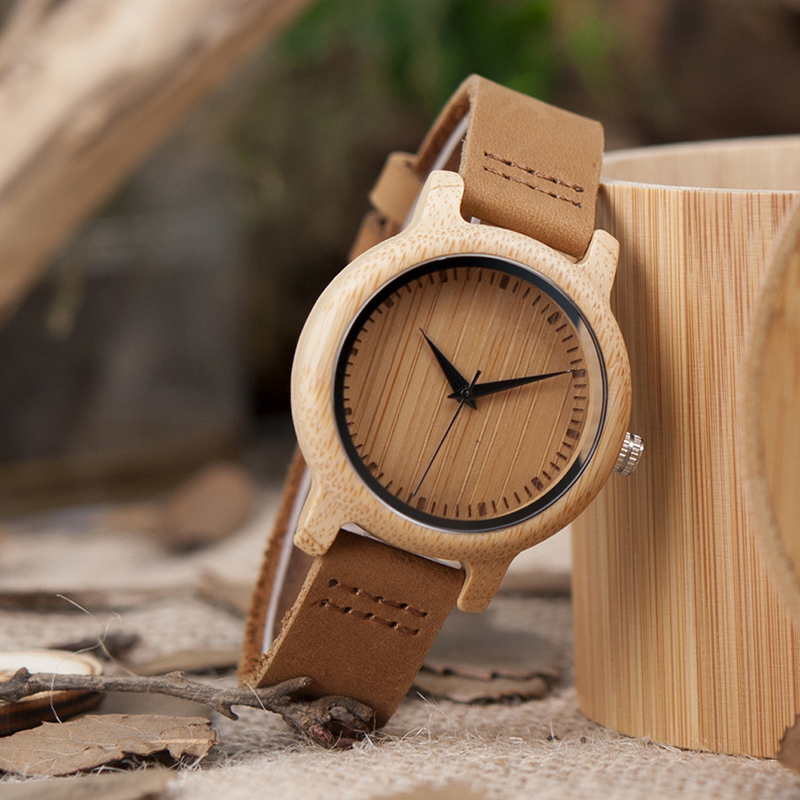 BOBO BIRD V-A10 Uniqu Womens  Bamboo Wooden Watch Quartz Outdoor Sport Watches With Genuine Leather Strap Montre Femme