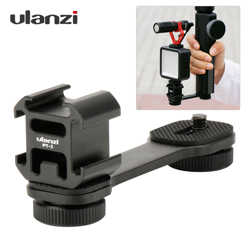 Ulaniz 3 in 1Triple Cold Shoe Mount Plate Microphone Stand LED Video Light Extend Bracket for Zhiyun Smooth 4 Feiyu Vimble 2 Dji smooth q 4 mic stand l bracket camera handle grip for zhiyun smooth 4 dji osmo led light rode videomicro with 2 hot shoe mounts