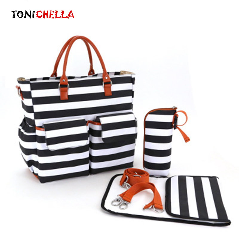 4 Pcs/Set Baby Diaper Bag Canvas Stripe Large Capacity Mummy Nappy Bags Fashion Mother Handbag Stroller Hook Shoulder Bag BB6006 nappy large capacity mummy bag 5pcs set multifunctional fashion ducks prints baby travel shoulder bag handbag for pregnant women