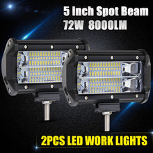 "CO LIGHT Led Bar Offroad 5"" 72W Led Work Light Spot 12V 24V for Lada Truck SUV Boat ATV 4X4 4WD Car-styling Auto Driving Light(China)"