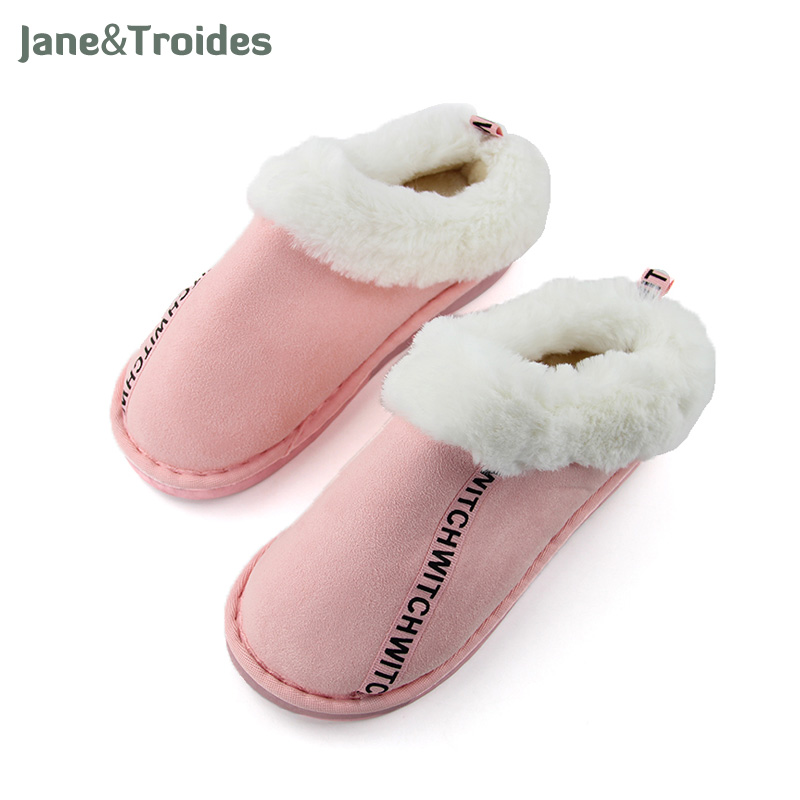 Winter Home Plush Women Slippers Fleece Warm Thicken Anti Slip Cotton-padded Shoes Letter Printed Fashion Woman's Slippers 2017 new anti slip women winter martin