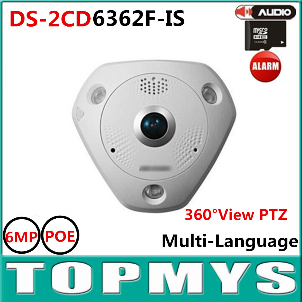 8PCS/Lot HiK DS-2CD6362F-IS 6MP POE  Fisheye camera 360 Viewing I/O Interface Buit in SD Card Slot Home security IP CCTV Camera pulse i o card cqm1h plb21