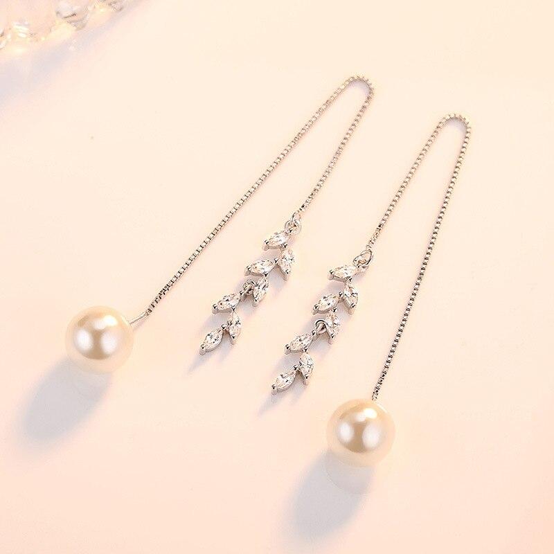 XIYANIKE New Fashion 925 Sterling Silver Pearls Earrings For Women Girl Gift Brincos Long Tassel Earrings VES6754
