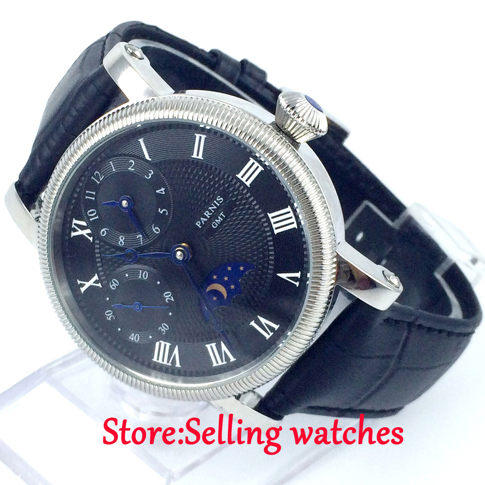 42mm parnis black dial GMT blue hands hand winding movement mens watch цена и фото