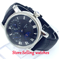 42mm parnis black dial GMT blue hands hand winding movement mens watch