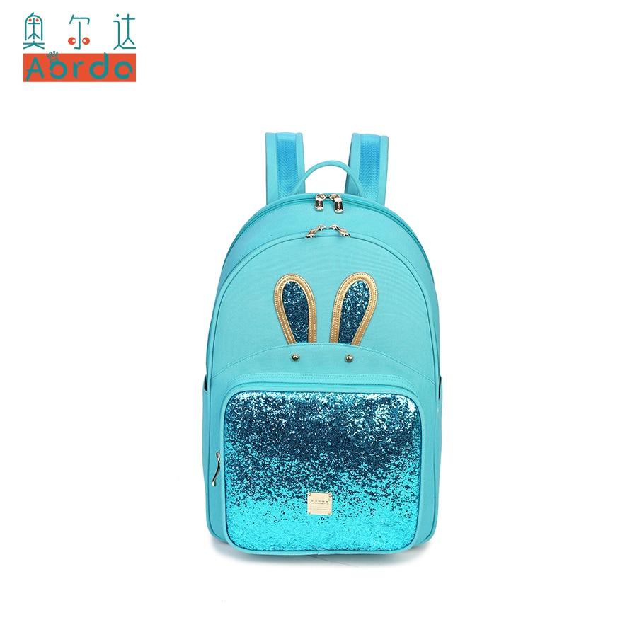 AORDA Lady Cute Rabbit Ears backpack for Women Black Mint Blue bling bling Shoulder Bag for