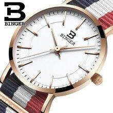 Швейцария БИНГЕР женщины часы люксовый бренд ультратонкий ограниченным тиражом Водонепроницаемый любителей кварцевые Наручные Часы B-3050W-6