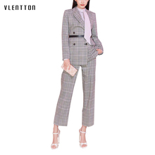 High quality 2019 New Office 2 piece set women Long Plaid Double-breasted women's suits Spring autumn Casual suit jacket+pants цена