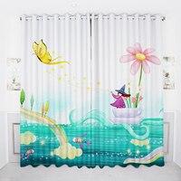 Customizable 3d Blackout Curtain Cartoon Butterfly Flower Small Fish Children Princess Room Curtain Velvet Cotton Window Curtain