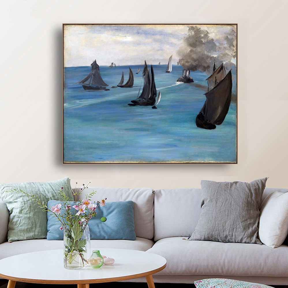 Seascape Famous Picture Wall Art Poster Print Canvas Painting Calligraphy Decorative Picture for Living Room Bedroom Home Decor