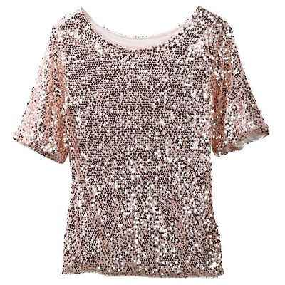 5d9dcffcb8a ... Casual Women Gold Sequined Bling Shiny T Shirt Top Half Sleeve Loose  Off Shoulder Tees T ...